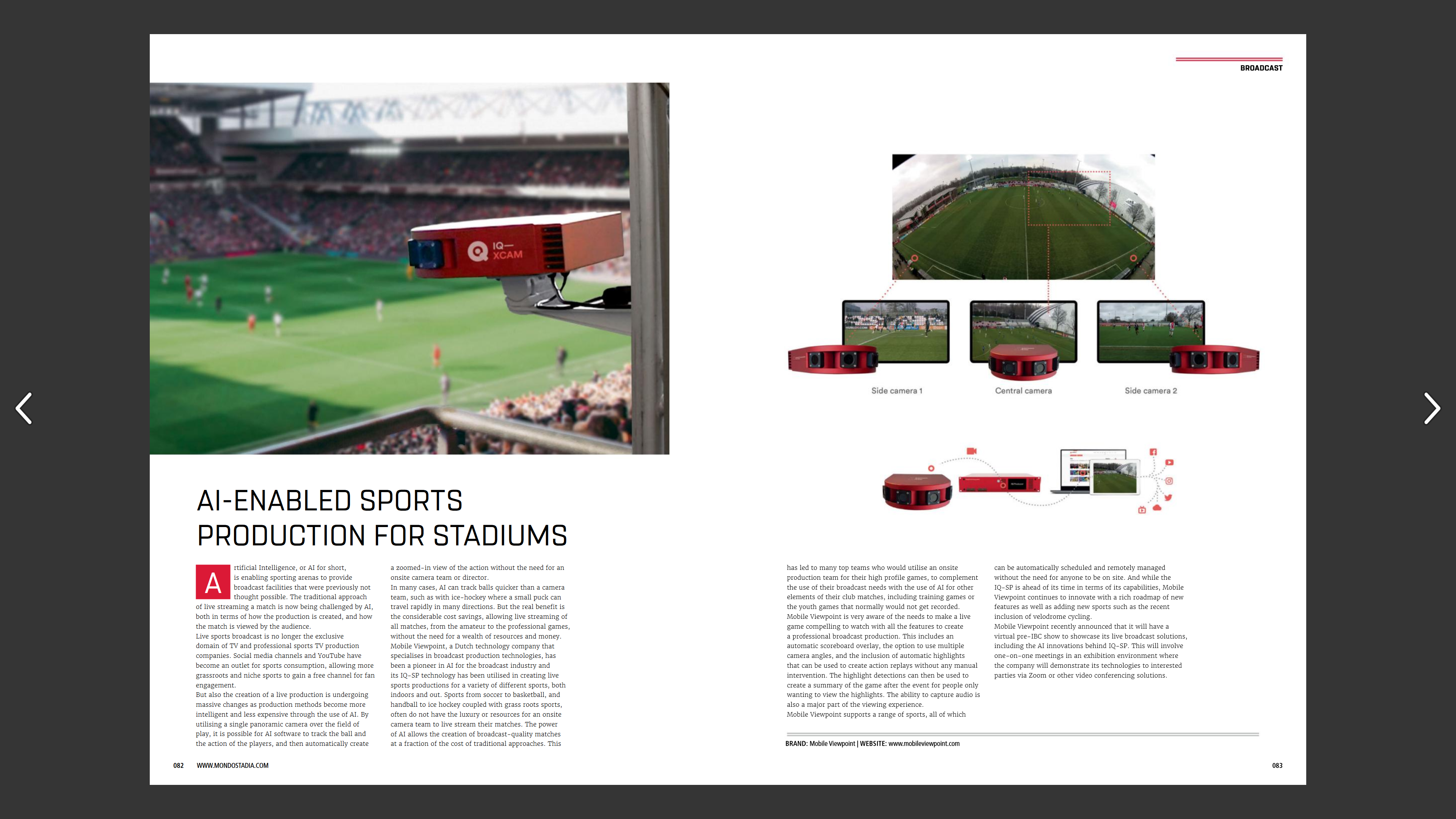 MONDO September 2020 issue; AI enables compelling Sports TV Productions for Stadiums