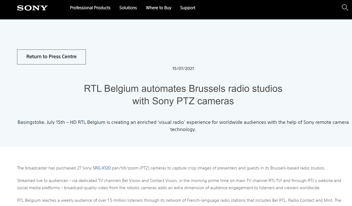RTL Belgium automates Brussels radio studios with Sony PTZ cameras and Mobile Viewpoint vPilot
